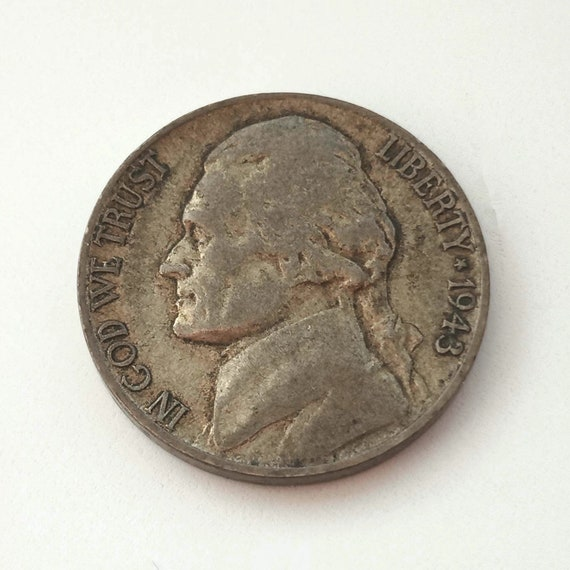 1943 Amercian Nickel, 5 cents 1943 USA Jefferson NICKEL Montecello coin United States of America