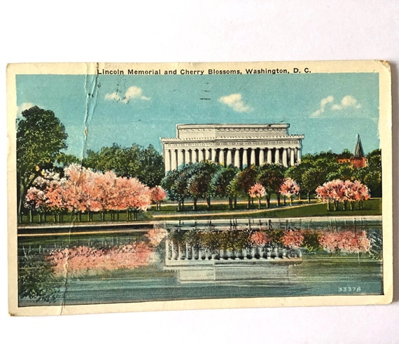 """Vintage 1935 Postcard LINCOLN MEMORIAL and Cherry Blossoms in Washington D.C., 3.5"""" x 5.5"""" posted 86 years ago with 1 cent stamp"""