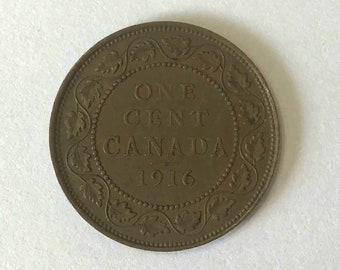 1916 Canada PENNY, large 1 cent Canadian copper COIN with King George V very good and 105 years old