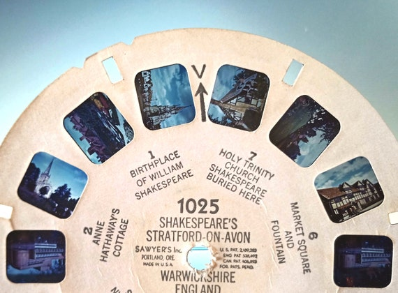 ViewMaster Reel Shakespeare, vintage 1948 Sawyer's View-Master single REEL # 1025 Shakespeare's Stratford On Avon Warwickshire England