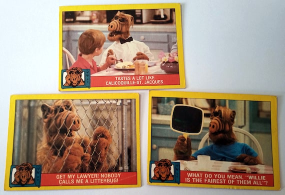 ALF Trading Cards, 3-pack bubble gum trading cards from the 80's TV show, excellent condition, card 8, 22, 31