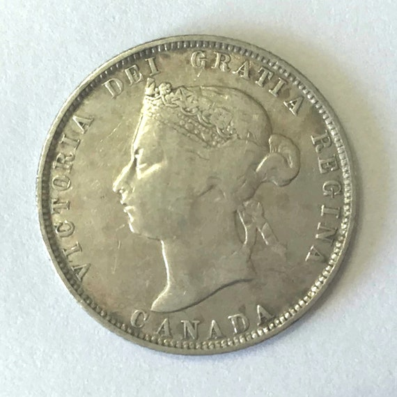 CANADA silver QUARTER, 1874 Canadian 25 cent coin with Queen Victoria ~ nearly 150 years old, 92.5% silver, dents