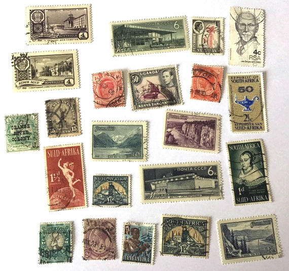 World Postage Stamps, CHOOSE 3 from listing, Vintage Antique POSTAGE STAMPS from America, Africa, and Russia. Pick three