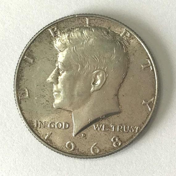 Kennedy Half Dollar, 1968 fifty cent piece USA American Silver HALF DOLLAR with Kennedy