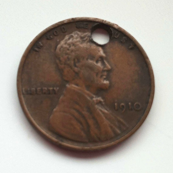 1910 USA Penny, American 1 cent copper coin with hole for pendant ~ 111 years old, wheat penny with Abraham Lincoln