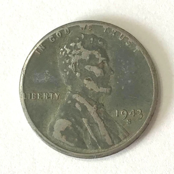 1943 American 1 cent coin USA steel PENNY from WWII wartime with wheat and Abraham Lincoln ~ over 75 years old