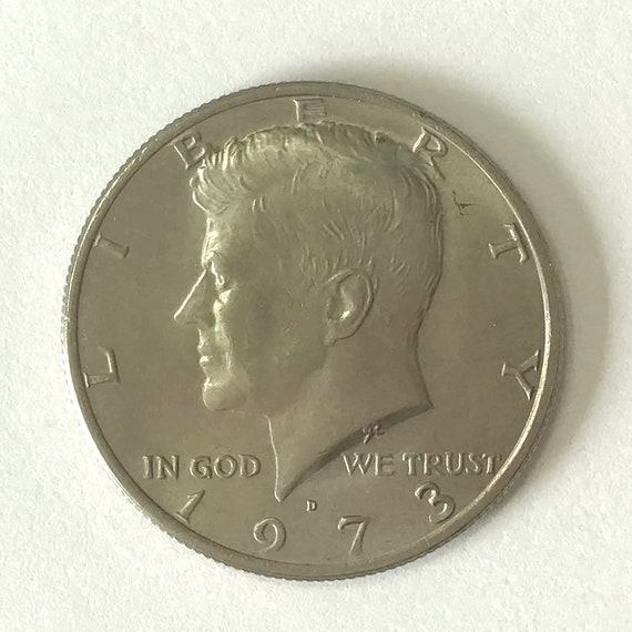 Kennedy Half Dollar, 1973 fifty cent piece USA American HALF DOLLAR with Kennedy, 50 cents