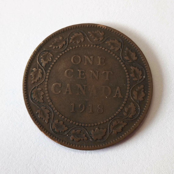 1918 Canada PENNY, large 1 cent Canadian copper COIN with King George V very good and 103 years old