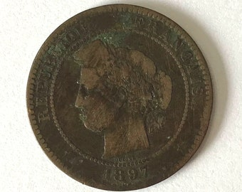 Vintage 10 centimes COIN, 1897 France coin with Emperor Napleon III, empereur collectible nearing 125 years old
