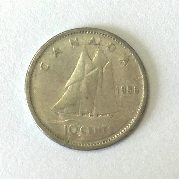 CANADA silver DIME, 1956 Canadian 10 cent coin with Queen Elizabeth II ~ 65 years old