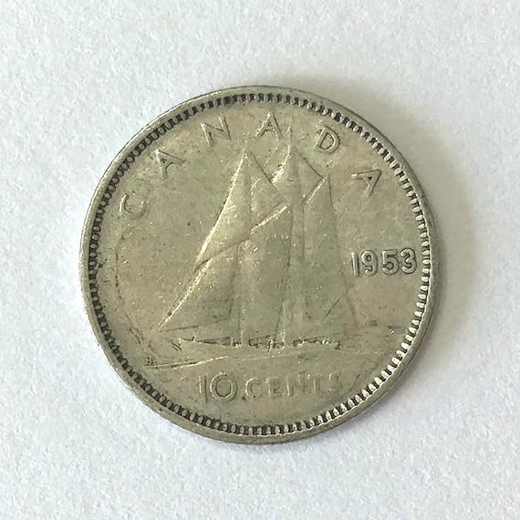 CANADA silver DIME, 1953 Canadian 10 cent coin with Queen Elizabeth II ~ over 65 years old