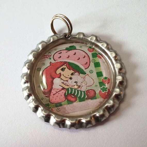 Strawberry Shortcake Keychain, attach to your keyring or use as a pendant for necklace, girl with kitten, 1970's and 80's cartoon character