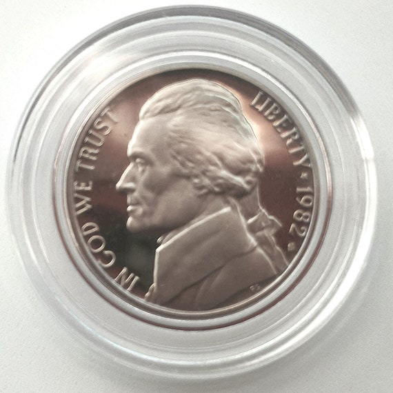 1982 American Nickel, uncirculated 1982 Shiny Proof USA Jefferson NICKEL Montecello American 5 cents Coin