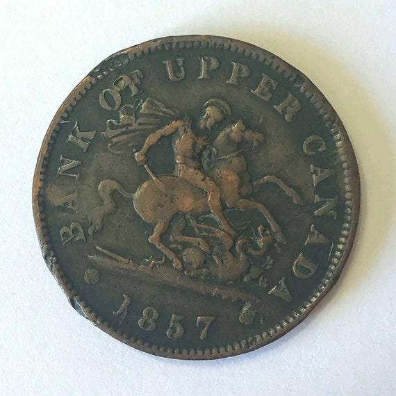 1857 Canadian Half Penny, Early Bank of Upper Canada Token, 1/2 cent copper coin with hole for pendant or keyring ~ 164 years old