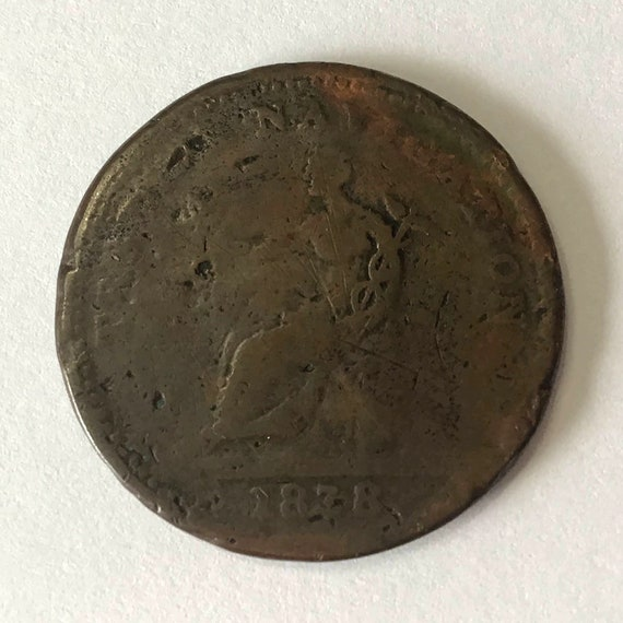 1838 Canadian Large Penny, Trade & Navigation coin, Pure Copper Preferable To Paper, 183 years old token