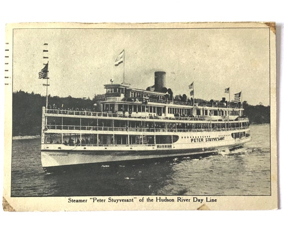 """Antique 1938 Postcard Vintage, Steamer Peter Stuyvesant Of The Hudson River Day Line, 3.5"""" x 5.5"""" POSTCARD posted 83 years ago NY"""