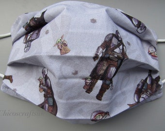 Star Wars Mandalorian Baby Yoda Grogu Adult Handmade Cotton Washable Face Mask
