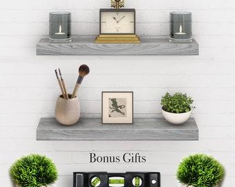 Floating Shelves Wood Gray Set of 2 - Real Wood Mounted Wall Shelf - 24in x 5.5in x 1.5in Hanging Shelf - Paulownia W/ Gray Finish