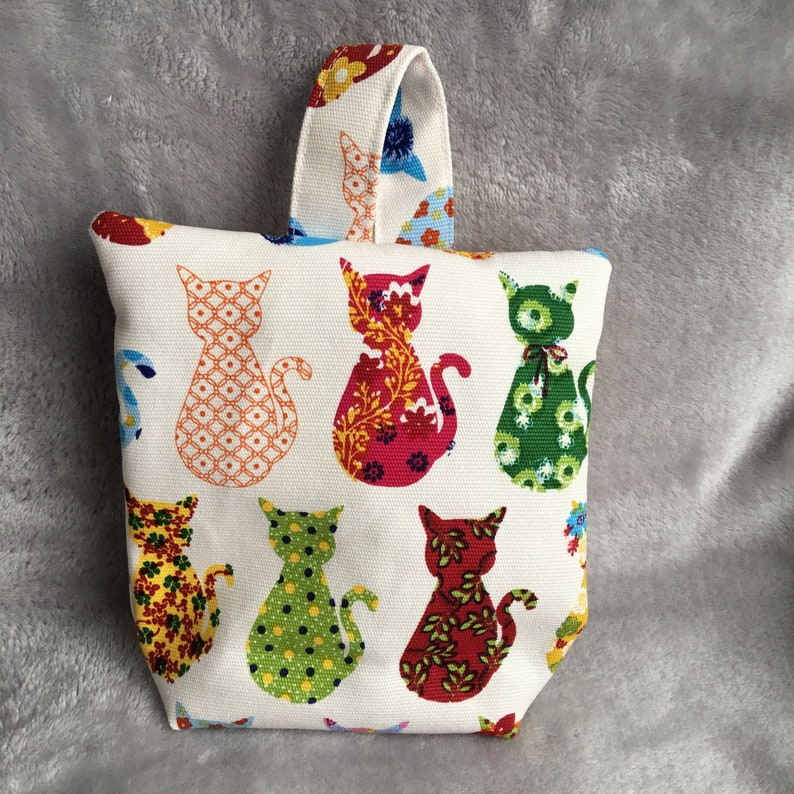 Canvas Unfilled Fabric Doorstop SML Cats Patchwork