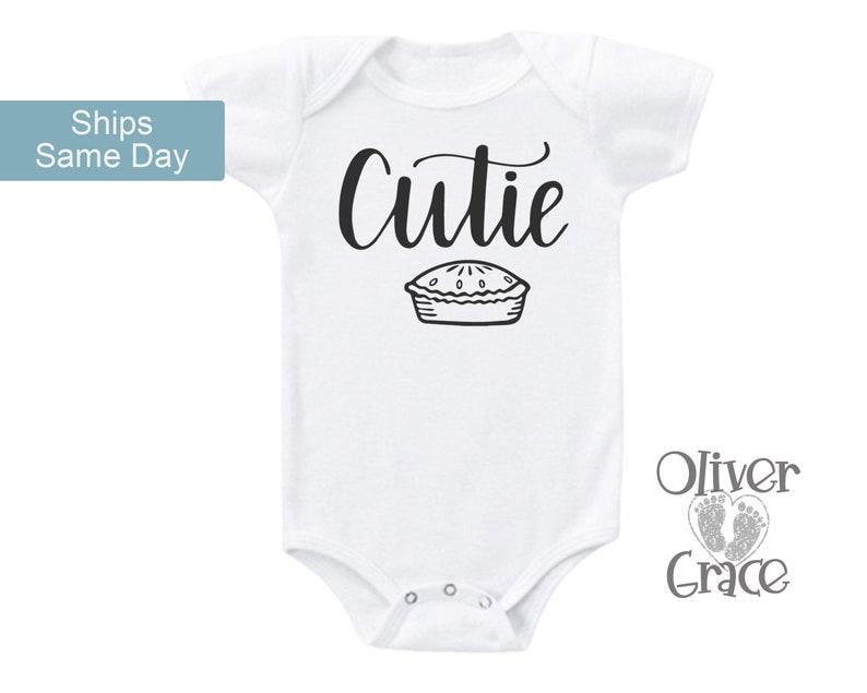 Cutie Pie Onsie® Cute Baby Onesies® Food Pun Baby Clothes image 0