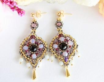 Elegant art deco beaded earrings, gemstone brick stitch earrings, dangle bead drops earrings, formal beadwork earrings, wedding earrings