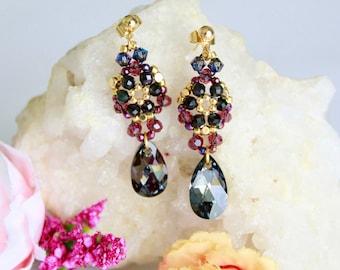 Woven flower swarovski crystal earrings, black swarovski drops earrings, elegant floral earrings, special occasion earrings, gift for sister