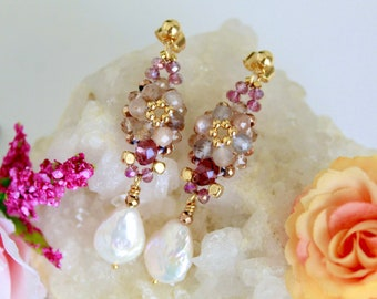 Romantic forget me not flower pearl earrings, everyday flower petals earrings, pink floral bridal earrings, botanical jewelry gift for her