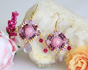 Elegant pink swarovski crystal earrings, dangle gemstone drops earrings, colorful bead earrings, lightweight party earrings, kawaii earrings