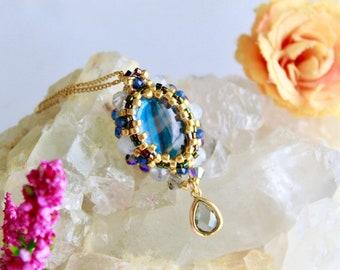 Statement gemstone pendant necklace, blue quartz beadwork pendant, elegant victorian pendant, unique design party necklace, wife gift