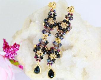 Beaded flower earrings, special occasion earrings, large elegant swarovski crystals earrings, dangle drops earrings, floral gemstone jewelry