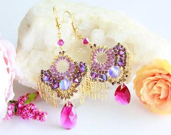 Pink swarovski beaded drops earrings, fan beadwork earrings, handcrafted fashion earrings, colorful party earrings, cute kawaii earrings