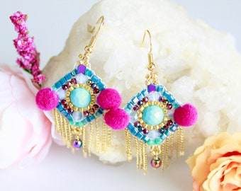 Turquoise mexican bead earrings, pink pompom earrings, miyuki seed beads earrings, fringe bead earrings, mexico earrings, kawaii earrings
