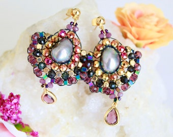 Statement cool earrings for her, black & pink crystal and pearl earrings gold, special occasion fan earrings post, mexico bead earrings gift