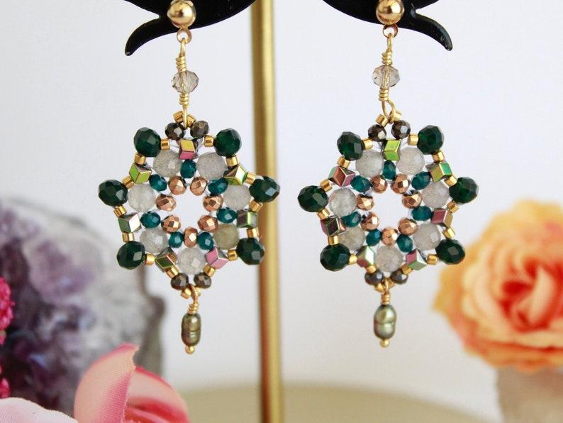 mexican jewelry boho chandelier earrings dangle gemstone earrings colorful beaded mexican earrings Green statement mandala earrings