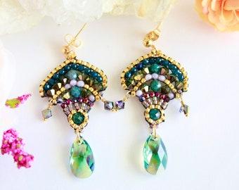Green Swarovski beaded drops earrings, czech beads earrings, sparkle fan bead pattern earrings, green bead earrings, artisan mexico earrings