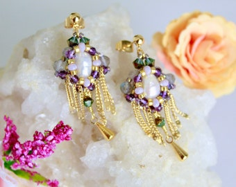 Pearl cabochon beaded earrings, swarovski seed beads earrings, crafted fringe earrings, tiny bead earrings, elegant beadwork earrings design