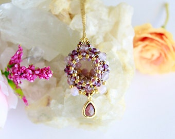 Amethyst beadwork pendant necklace, elegant gemstone necklace, unique design necklace, anniversary wife gift, special ocassion pendant