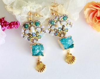 Aesthetic earrings for woman, seashell long post earrings gold, green aqua raw druzy earrings, summer prom earrings, beachy jewelry gift