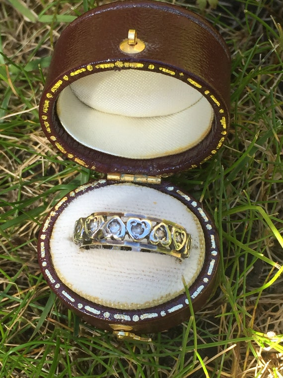 Antique 9ct gold and silver eternity ring. Gold st