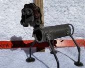 metal dog welded art,upcycle,