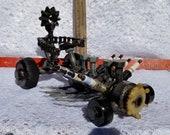 racer,welded art,sculpture,repurposed parts, upcycle