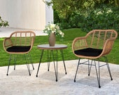Oshion 3pcs Wicker Rattan Patio Conversation Set with Tempered Glass Table Flaxen Yellow