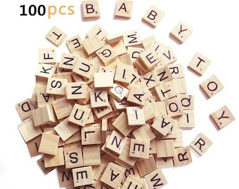 100 Pcs//Bag Wooden Alphabet Scrabble Tiles Letters Numbers For Board Crafts DIY