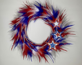 White Red and Blue Patriotic Freedom Stained Glass Feather