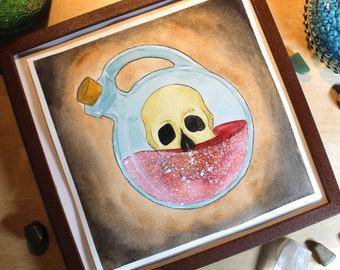 Skull Potion - Original Watercolor Picture