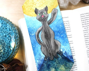 Original Hand Painted Dark Cat Bookmark