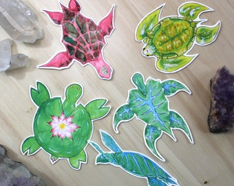 Watercolors Plants Turtles Sticker Pack ( 5 Stickers )