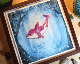 Whale in the forest - Original watercolor picture