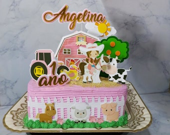 08-Printable Farm Cake Topper, Personalized Farm Centerpiece, Farm Birthday Cake Topper, Farm Party Print