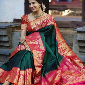 Wine Colore Designer Bold And Beautiful Saree Indian Traditional Saree Bollywood Style Exclusive Party Wear Kanchipuram Silk Sari